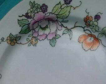 German China Bread Plates Floral Gold Trim Heinrich Co Selb Bavaria.