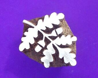 Oak Leaf Acorn Wood  Stamp Hand Carved Indian Print Block