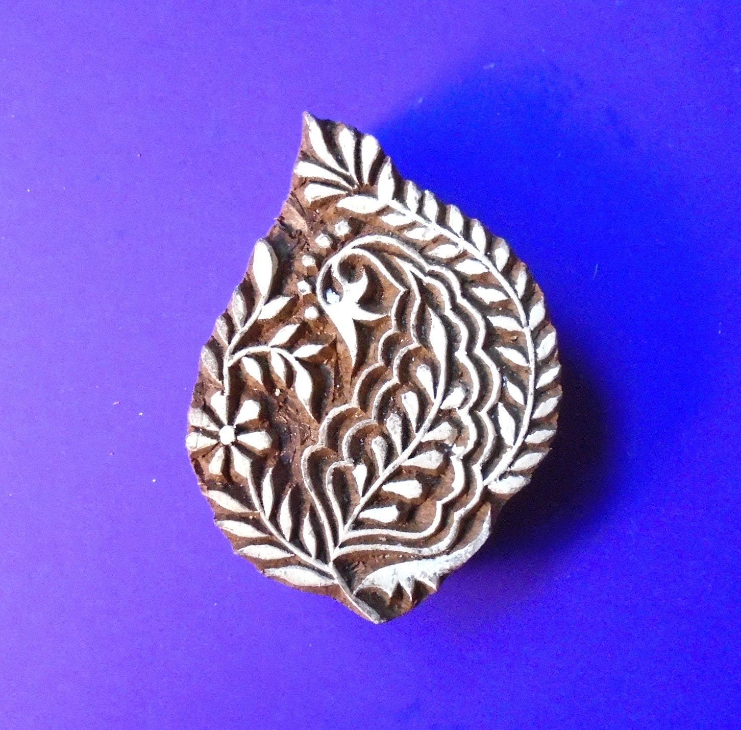 Hand carved floral leaf wood stamp indian print block