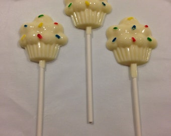 Cupcake with Sprinkles Chocolate Lollipops