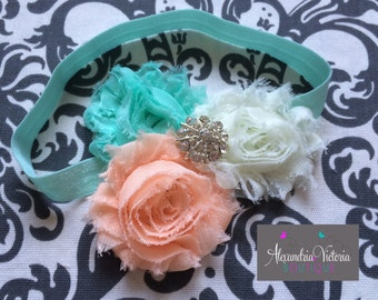 AQUA blue,  CREAM and PEACH headband, baby headband, infant headband, girls headband, newborn headband, shabby chic headband.