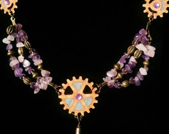 Amethyst and Rose Quartz Steampunk Necklace