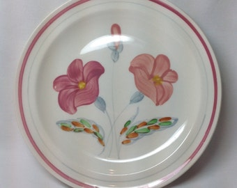 Vintage Ucagco Underglaze Hand Painted USA Pink Red Flower Plate