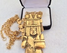 Runway Statement Hecho en Mexico Mayan aztec Warrier Goldtone Vintage  Necklace
