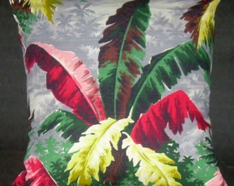 "Tropical Pillow Cover ""Tropical Palms"" Barkcloth (20"") Mid Century Miami Beach  Eames Retro"