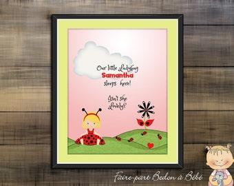 Digital Printable - Personalized wall art print - Ladybug wall art, kids bedroom poster - 8x10