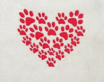 Paw Prints Heart Machine Embroidery Design Pattern Single Color for a 4X4 Hoop PES, dst, exp, hus, jef, pcs, vip Formats