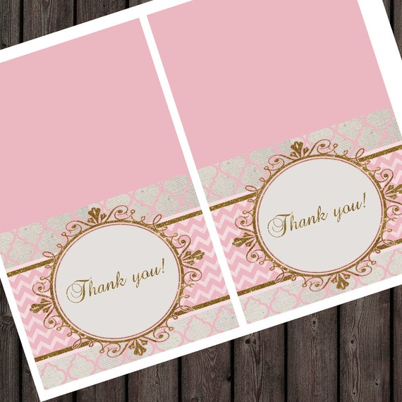 Gold Pink Thank You Card Thank You Tags Baby Shower Thank