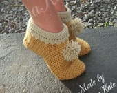 Crochet Pixie Style Slippers with pompom