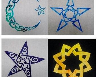 4 Celtic Stars and Moon Quilt Applique Patterns (Set 1)