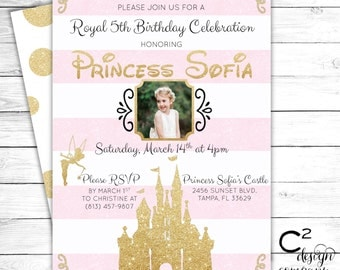 Pink & Gold Disney Princess Birthday Invitation