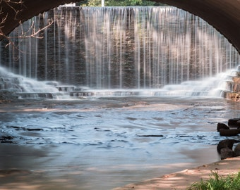 Grant Park Waterfall Long Exposure Through the Bridge Milwaukee WI Wisconsin Fine Art Photo Print Home Decor by Rose Clearfield on Etsy