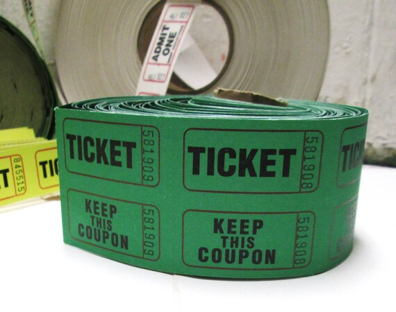Carnival Tickets Double Raffle Ticket Sets Circus Ticket Paper Ephemera Lot for Upcycle Recycle Mixed Media Collage Pack Scrapbooks Green