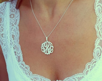 "Personalized Silver Monogram Necklace, 1"" , Personalized gift, Christmas Gift, Bridesmaid Gifts"