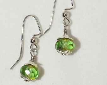 Peridot Green Czech Glass Drop Earrings