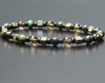 Jasper, Russian Jade and Smoky Quartz Healing Stone Bracelet or Anklet!