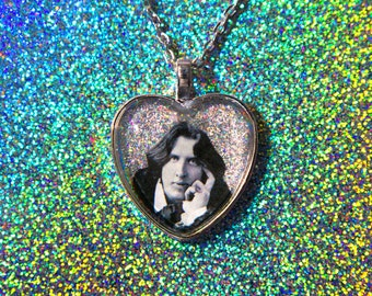 Oscar Wilde Holographic Glitter Heart Necklace