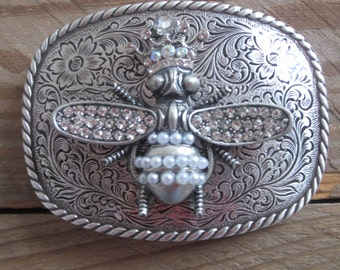 Belt buckle Sparkling Pearl & crystal honey bee Floral Engraved women's belt buckle rhinestone queen bee bohemian gypsy chic Belt Buckle