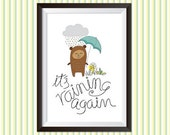 It's raining again, printable illustration to decorate a room or send as a postcard. Digital drawing, digital illustration, design, print