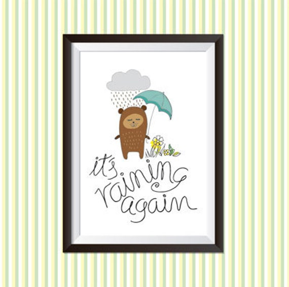 it 39 s raining again printable illustration to decorate a. Black Bedroom Furniture Sets. Home Design Ideas