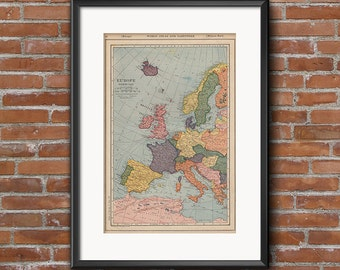 Vintage Map of Europe ~ 1922 ~ Printable Map for DIY Craft Projects, Scrapbooking, Digital Artwork