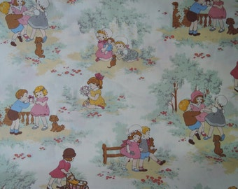 "Half Yard of  31035-10 Lecien Petite Marianne Retro Children Fabric on off White Background. Approx.18""x 44"" Made in Japan"