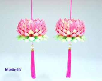 A Pair Of Pink Color Medium Size Origami Hanging Lotus. (AV paper series). #FLT-33.