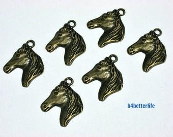 "Lot of 24pcs Antique Bronze Tone ""Horse Head"" Metal Charms. #BC3420."