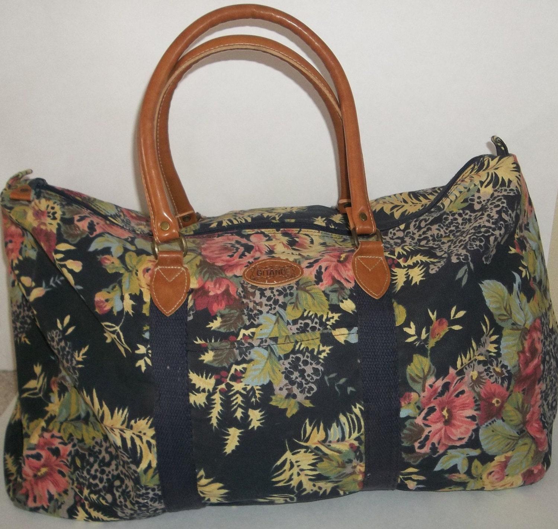 Vintage Gitano Floral Duffel Bag / Floral Travel Bag / Floral