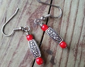 Silver charm earrings with red beads flower bead
