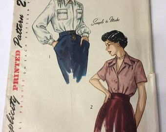 Simplicity 2940 Size 14 Bust 32 Blouse Pattern - 1949 - Simple to Make
