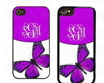Monogrammed iPhone 4 4s 5 5s 5c Case Rubber Purple Butterfly