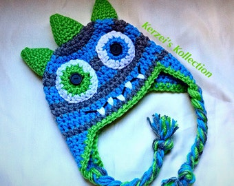 Crochet hat for boys, monster hat, newborn monster hat, monster hat for baby, monster hat for boys, crochet monster hat