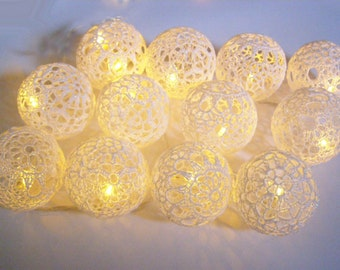 String Led Lights Fairy Lights Wedding Decoration Bedroom Decor Lamps 20 Lace Crocheted Balls Night Garland