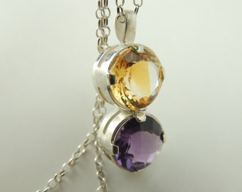 Citrine Amethyst natural  necklace, yewllo and purple necklace, Gemstone pendant necklace