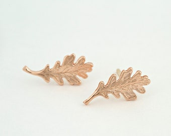 "Delicate Realistic Oak Leaf Earrings - Solid 14 Karat Rose Gold Studs - Engraved ""White Oak"" Leaves - Ready to Ship"