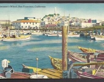 Vintage  Linen Postcard -  Fishing Fleet, Fisherman's Wharf, San Francisco, California  (862a)