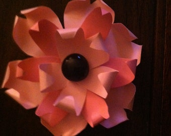 "Mini 3"" Paper Flowers with Glass Stone accent - Set of 12"