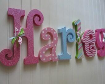 Nursery letters, Nursery wall hanging letters, nursery decor, hot pink, light pink, lime green, blue nursery wall letters