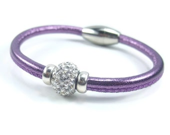 Purple Leather Bracelet, Womens Leather Jewelry, Womens Leather Bracelet, Rhinestone Bracelet, Magnetic Clasp, Womens Bracelet