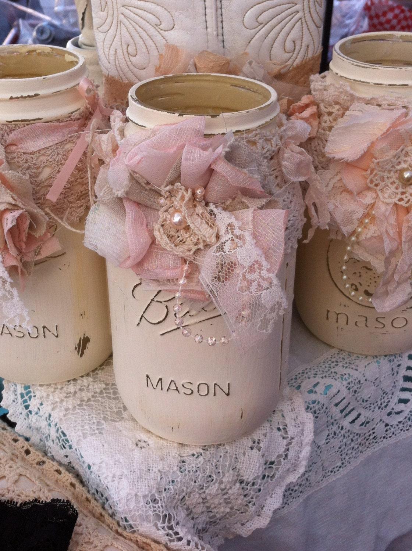 Mason jar decor mason jar centerpieces mason jar wedding - Deko vintage shabby chic ...