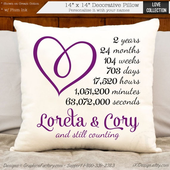 2nd Anniversary Cotton Gift Personalized Heart By Ixidesign