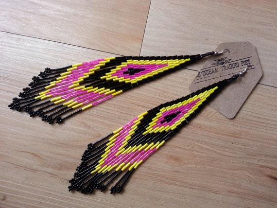 Pink Yellow and Black Extra Long Shoulder Dusters Native American Earrings- - Pow Wow Style