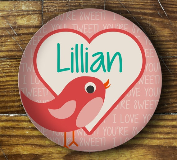 Personalized Dinner Plate or Bowl-Lovebird