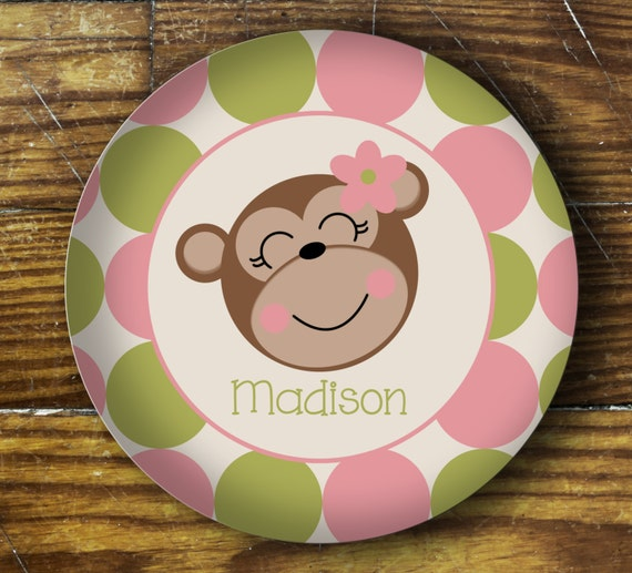 Personalized Dinner Plate or Bowl - Girl Monkey