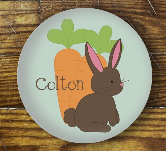 Personalized Dinner Plate or Bowl-Bunny