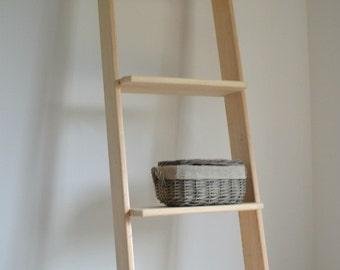 Ladder Shelving Unit, Vintage Storage Shelving, Extra Large Solid Wood