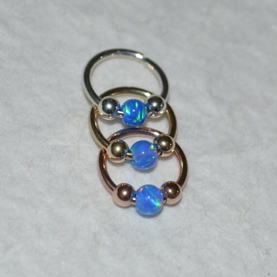 3mm Opal Septum Ring - Silver Nose Ring - Helix Earring - Rook Earring - Nipple Ring - Cartilage Piercing - Daith Piercing 18 gauge
