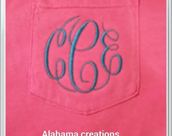 Comfort Colors Monogrammed Long Sleeve T-shirt - monogrammed pocket Tee - Long sleeve monogram shirt - Pocket Tee - Gifts for Her - Gifts