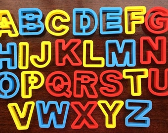 Complete Set of 26 Alphabet Letters Cookie or Dough Cutters ~ Play-Doh ~ Fondant ~ Cake Decorating ~ Educational